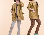 Mud yellow fashion long coat