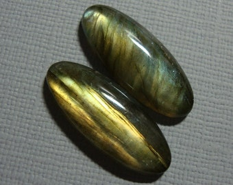 AAA, Fiery Blue Green gold Flash Labradorite Smooth Elongated Oval Cabochon, 25x10mm - A16-2