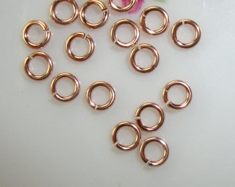 Bulk 50 pcs, 3mm, 22 gauge, 18k ROSE GOLD over Sterling Silver Jump rings, Open Jump rings