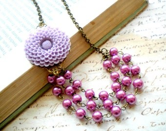 Purple Statement Necklace Flower Necklace Bib Necklace Three Strand Bridesmaid Necklace Lavender Jewelry Purple Pearl Necklace Sister Gift