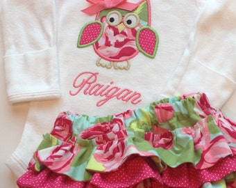 Personalized Owl Bodysuit and Diaper Cover Set- Personalized Embroidered Pink Owl Bodysuit Set-Personalized Embroidered Owl Bodysuit
