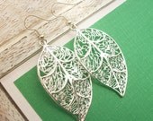 Silver Fancy Filligree Skeleton Leaf Earrings