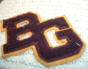 Large Gold And Marron Patch With Letters BG