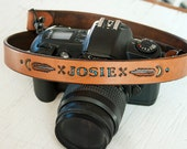 Custom Leather Camera Strap - Personalized Native American Design - Custom Name - Hand Painted & Hand Stamped - Made to Order by Mesa Dreams