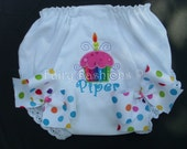 Custom Bloomers..CUPCAKE with CANDLE BLOOMERS, any color...any theme...diaper cover..dress up..birthday bloomers, first birthday