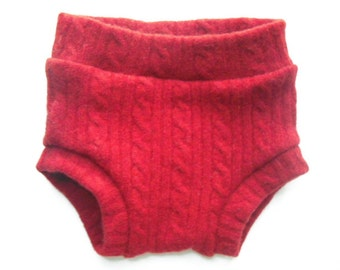 Upcycled wool diaper cover - red cables- medium - 6-9 mo