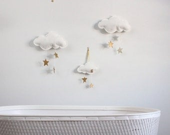 Gold Stars and White Felt Cloud Wall Hung Mobile - fabric sculpture for modern baby nursery decoration- Free US Shipping