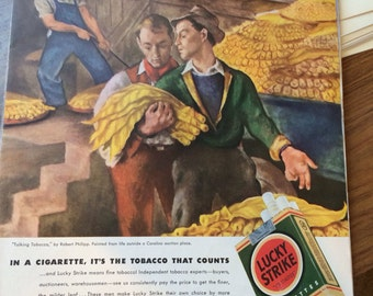 Large graphic print ad Lucky Strike ad circa 1942