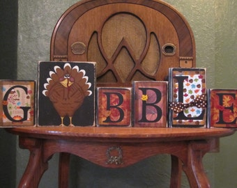 Gobble Thanksgiving Sign Word Blocks