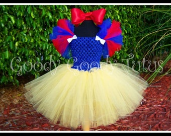 FAIREST OF ALL Snow White Inspired Crocheted Tutu Dress and Red Satin Bow Headband - Large 4-6T
