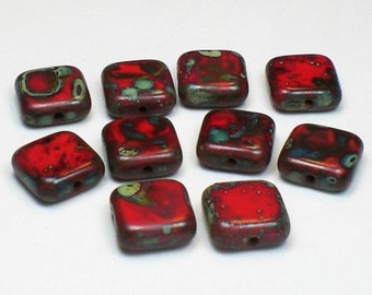 Picasso Czech Glass Beads 10mm Square Scarlet Red Bead with Picasso 10 Pcs. S-874