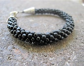 Black Kumihimo Bead Rope Bracelet - Black Licorice