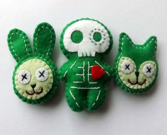 SALE Zombie Pins Bunny Kitty Skeleton Brooch