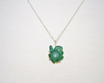 Sea Glass Jewelry Necklace Clustered Teal Sterling Silver 5361