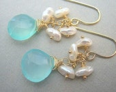 Aqua Chalcedony and Keshi Pearl Dangle Earrings, Bridal Jewelry