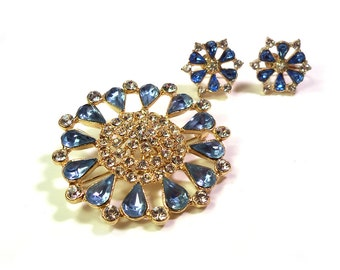 Vintage Blue & Crystal Rhinestone Wedding Brooch and Earring Set Large Floral Design