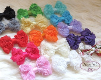 12 pcs- YOU pick Colors: Kylie MINI Chiffon Rosette fabric BOW shabby Vintage look Appliques. Baby Bow. Mini Bow. Hair Accessories.