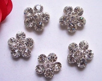 10 pieces - 21mm Silver Metal Plated Crystal Flower Shaped Rhinestone Buttons - wedding / hair / dress / garment accessories Flower Center.