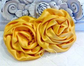 "2 pcs: 3"" MUSTARD Yellow Adorable Rolled Satin Rose Rosettes Fabric flowers Appliques"