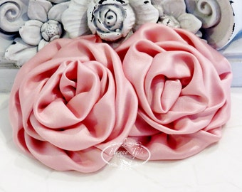 """2 pcs: 3"""" ROSE PINK Adorable Rolled Satin Rose Rosettes Fabric flowers Appliques"""