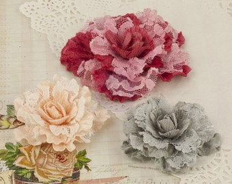"NEW Prima Scarlett ""Vintage Rose"" 571399 Velvet Lace Rose Fabric Flowers. Red, Peach, Grey Flower Appliques. HAir accessories, Hair Ornament"