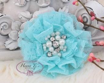 NEW: The Sunridge- 2 pcs 3 inch AQUA Ruffled Lace Fabric Flowers w/ rhinestones pearls center for Bridal Sashes, Hair Appliques Accessories