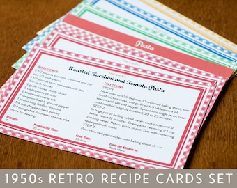 Printable Recipe Cards and Dividers, Retro 1950s Design, Editable PDF, 4x6