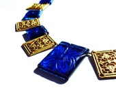 Kashmir Blue Carved Quartz and Brass Necklace, Blue and Gold Necklace
