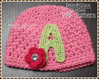 Crochet Monogram Hat Pattern, 8 Sizes from Newborn to Adult, JANIE - pdf 215
