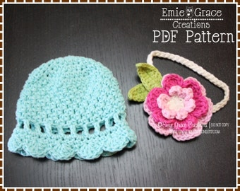 Flower Hat Crochet Pattern, 8 Sizes from Newborn to Adult, KENNEDY - pdf 220