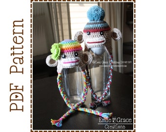 Crochet Sock Monkey Hat Pattern, Ear Flap,  SEDRIC and SADIE Sock MONKEY - pdf 129