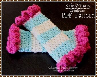 Crochet Leg Warmer Pattern, SINGLE RUFFLE - pdf 707