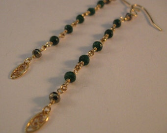 Long Emerald Gemstone Earrings, gold earrings, gemstone earrings, long earrings, cascading earrings, emerald earrings,drop earrings, dangle