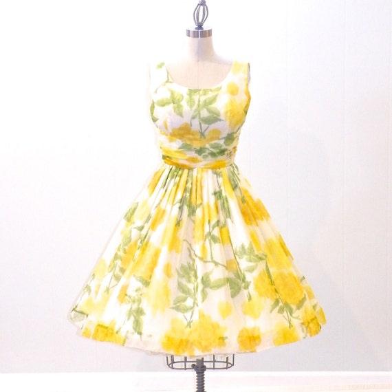 50s vintage dress floral bridesmaid dress 1950s garden party for Garden party wedding dress