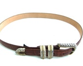Vintage Brighton Brown Leather Belt with Silver Buckle and Tip