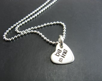 Be Mine Tiny Heart Necklace Sterling Silver Heart Charm Necklace Handmade Jewelry