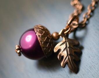 "Magenta Glass Pearl Acorn Oak Leaf Antiqued Copper Necklace - ""Bordeaux"""