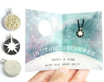 IN THIS UNIVERSE - Personalized Sun / Supernova / Star engraved charm, jewelry, necklace, twinkle little star, tiny, nebula