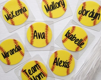 Softball Team Bag Tags Softball Gifts Personalized Softball Tags Volleyball Bag Tags Tennis Bag Tags Soccer Bag Tags Team orders of 8-14 tag