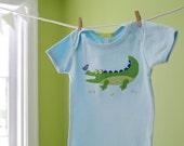 Baby Boy Onesie: Blue & Green Handmade Alligator Applique Onesie- 6m 12m 18m- Baby Shower Gift