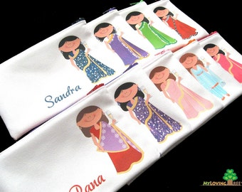 Personalized Indian bridesmaids zipper bags bridesmaids pouches wedding bridal shower party wedding favors thank you cosmetic bags