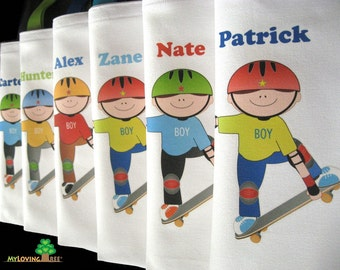 Skateboard party SK8 skateboarder skating themed birthday party personalized unique and fun favor tote bags for boys and girls sk8ter