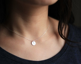monogram necklace, initial necklace, dainty necklace - silver circle pendant necklace