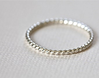 twist ring, rope ring, stackable ring, staking ring, textured ring, skinny ring, dainty ring - sterling silver twisted ring