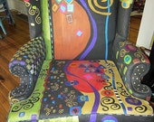 Hand painted Wing Back Chair KLIMT motif