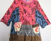 Paisley Fun Upcycled Recycled Tunic Dress fits sizes thru 1X