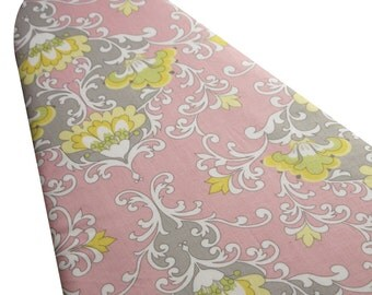 PADDED Ironing Board Cover made with Riley Blake Priscilla pink and gray damask select the size