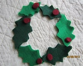 Felt Holly Leaves Die Cuts -DIY Felt Christmas Holly Ornaments- Holiday Decoration Shapes- Cut Outs- Felt Pieces