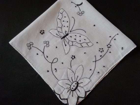 Vintage Butterfly Handkerchief Black and WhiteVintage Butterfly Black And White