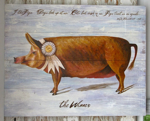Pig painting, original, rustic reclaimed solid wood,the winner 1093
